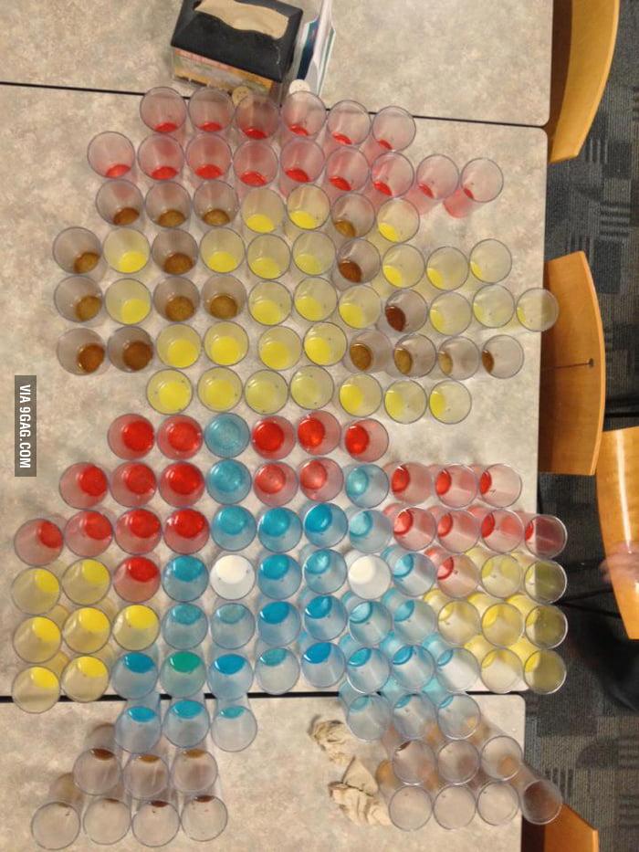 143 cups of Powerade, Hi-C, Coke, 2% milk and orange juice.