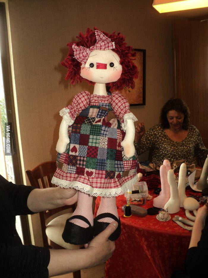Mom posted her DIY doll photo... what's that on the table?