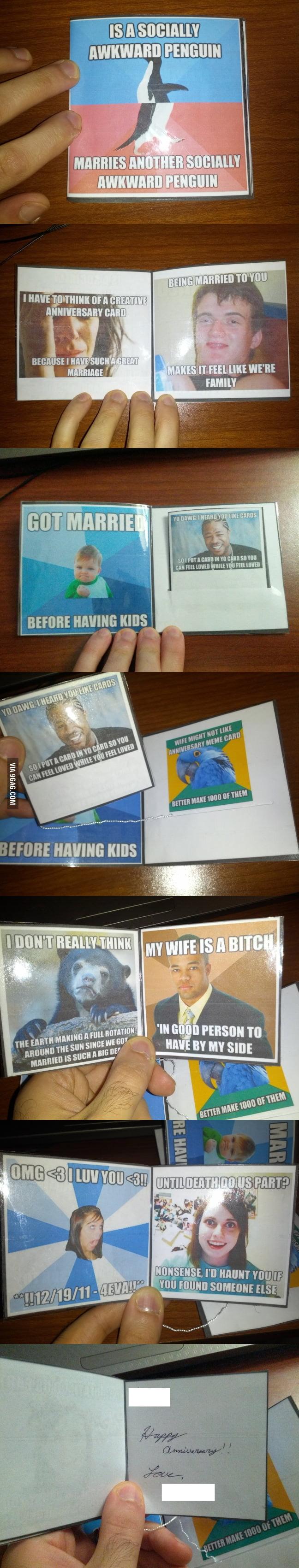 Amazing wedding anniversary cards using memes.