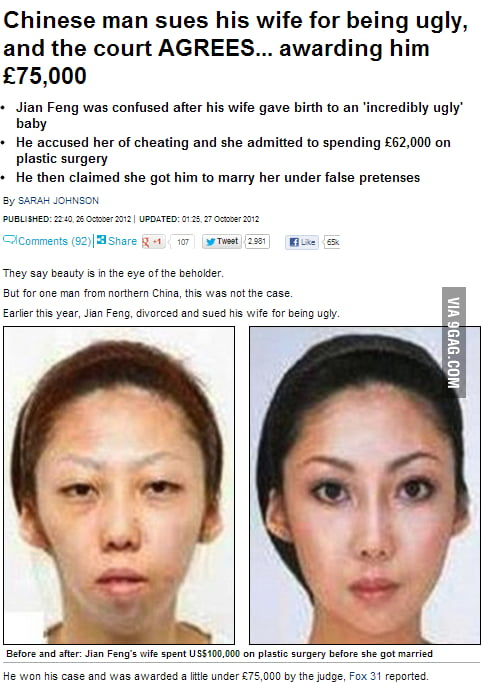 chinese sue wife ugly