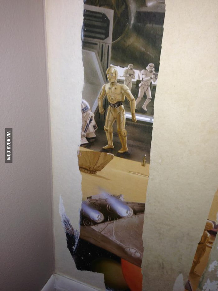 I was peeling wallpaper in my son's room when suddenly...