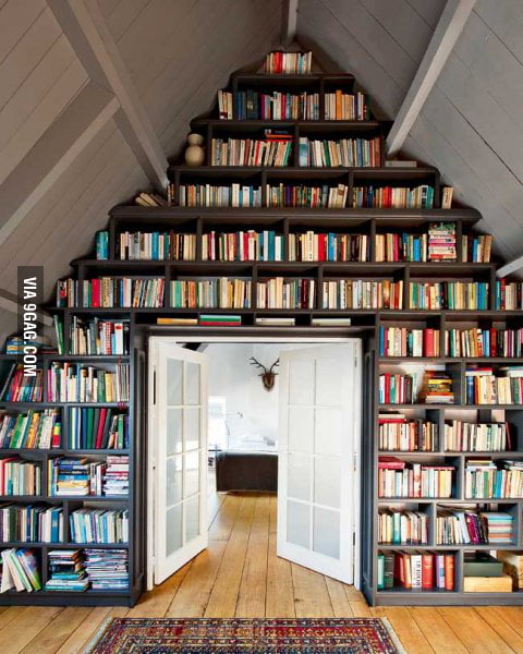 I want a bookshelf like this at home.