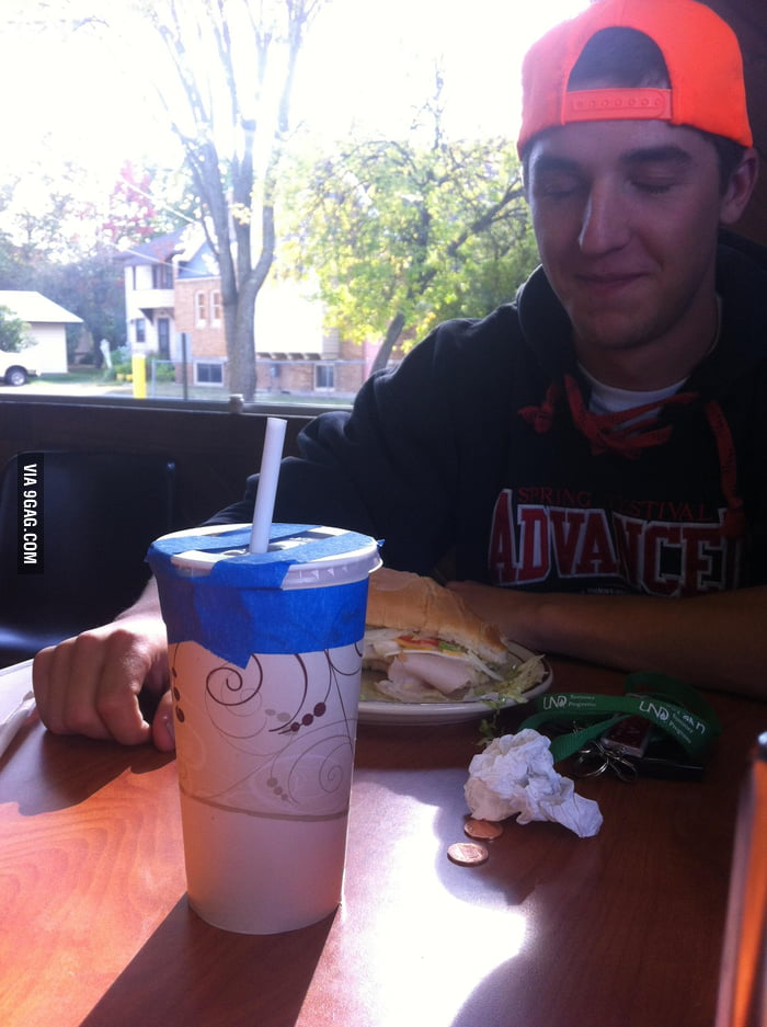 He spilled his drink everywhere, waitress returned with this
