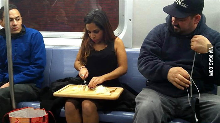 Saw this woman chopping onion on a train in NYC.