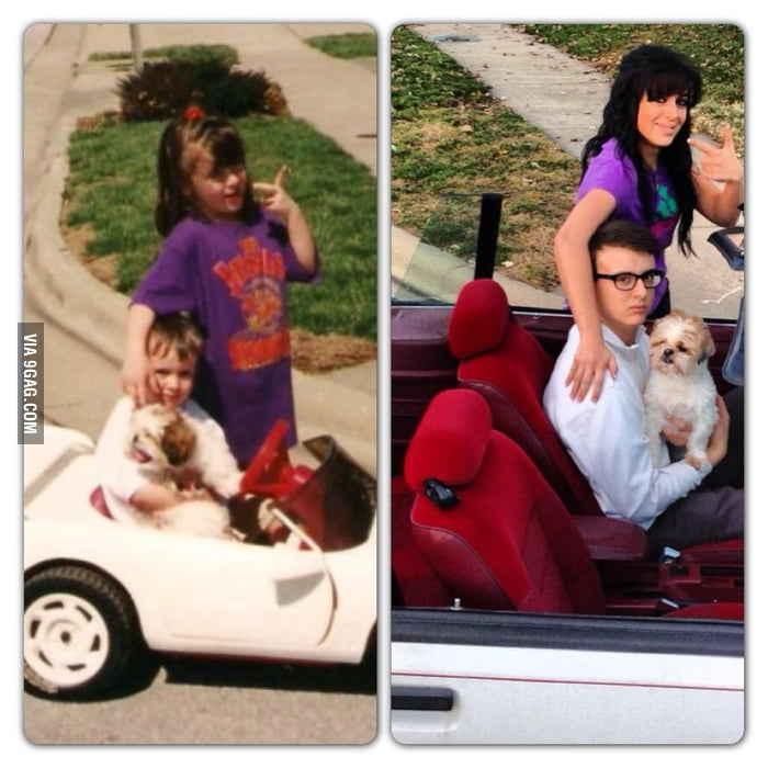 Brother, sister, and dog: 14 years apart.
