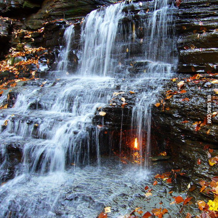 Where fire beats water - the Eternal Flame Falls, NY.