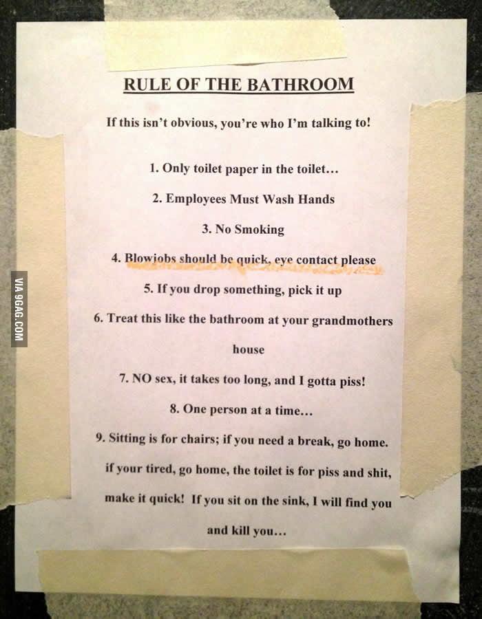 Rule of the bathroom 9gag for Bathroom 9gag