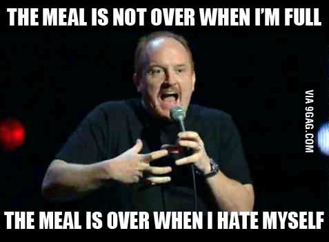 Thanksgiving meal summed up in a sentence.
