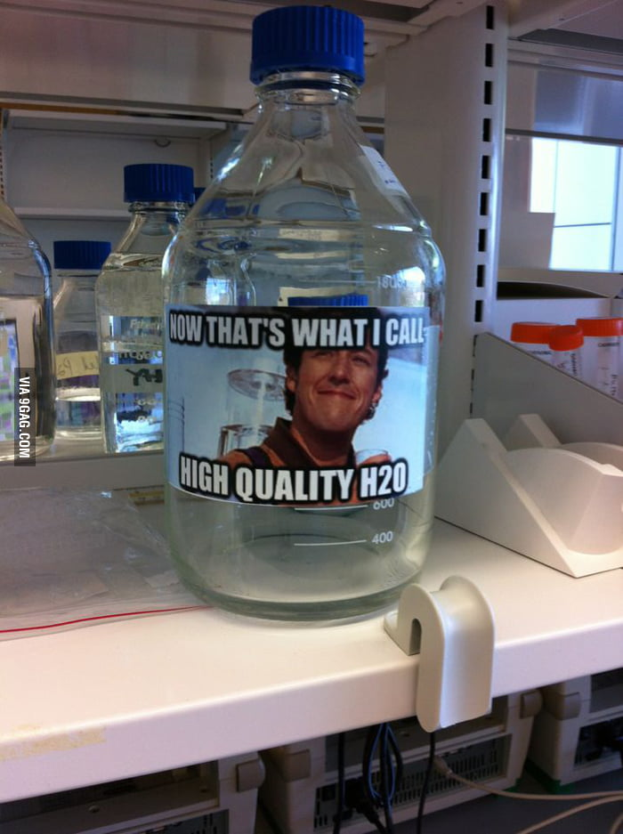 How I label the sterilized water in the lab.