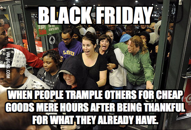 Irony about Black Friday in USA