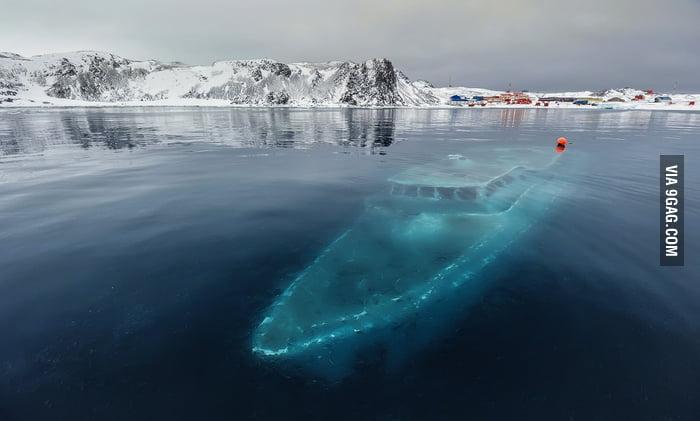 Sunken boat in Antarctica.