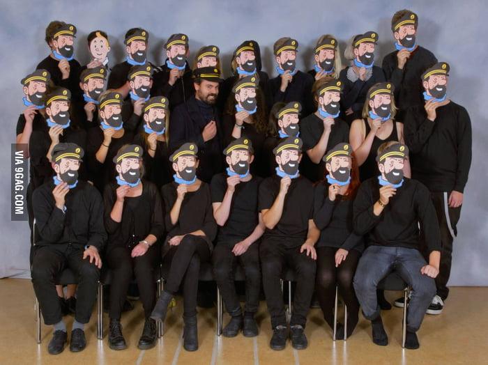 Our class photo - our teacher looks like Captain Haddock.