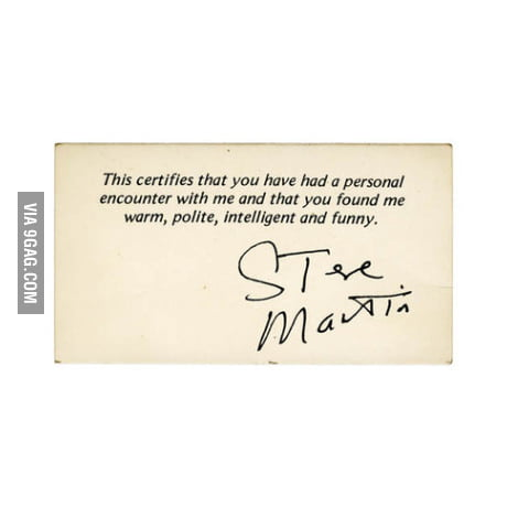 Steve Martin's business card.