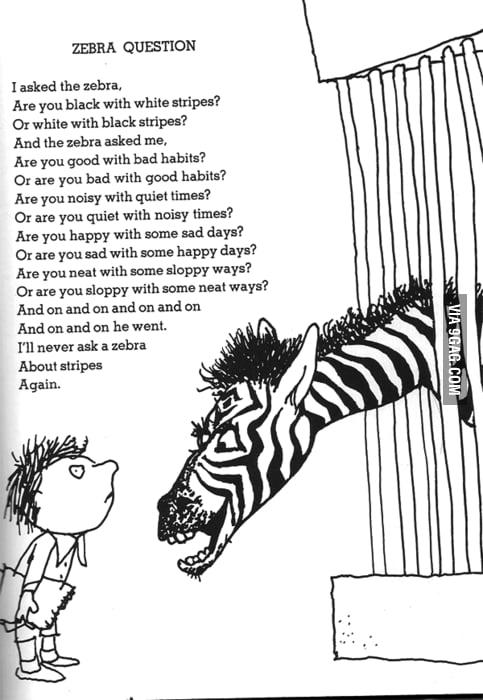 I'll never ask a zebra again