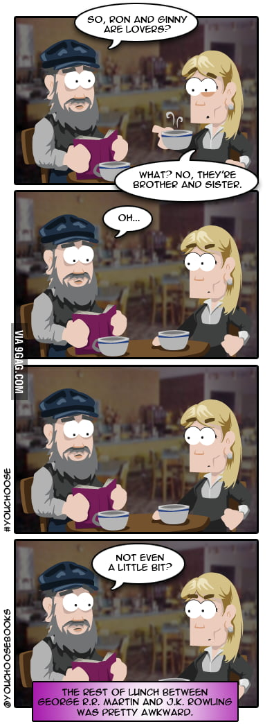 George R. R. Martin has lunch with JK Rowling