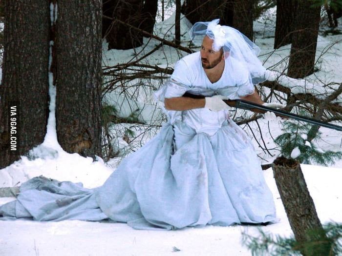 Best use for ex-wife's wedding dress: Snow Camouflage!