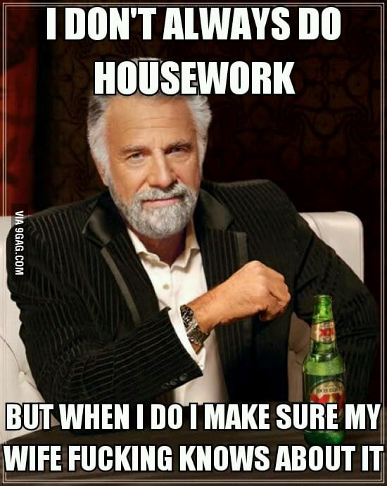 As a husband doing housework.