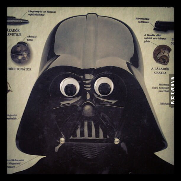 Darth Vader with googly eyes...I just can't stop laughing