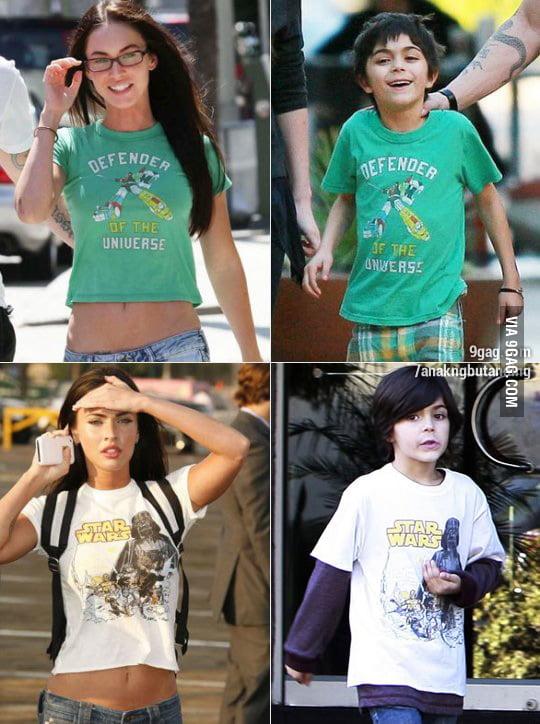 Megan Fox likes to borrow her step-son's t-shirts