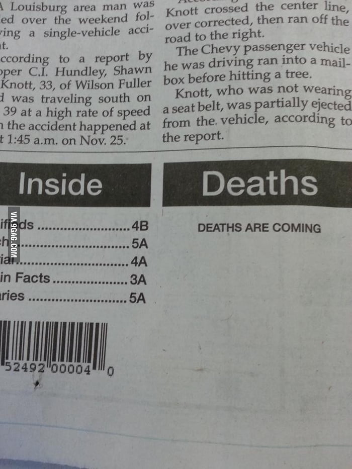 My local newspaper must be run by Mayans.