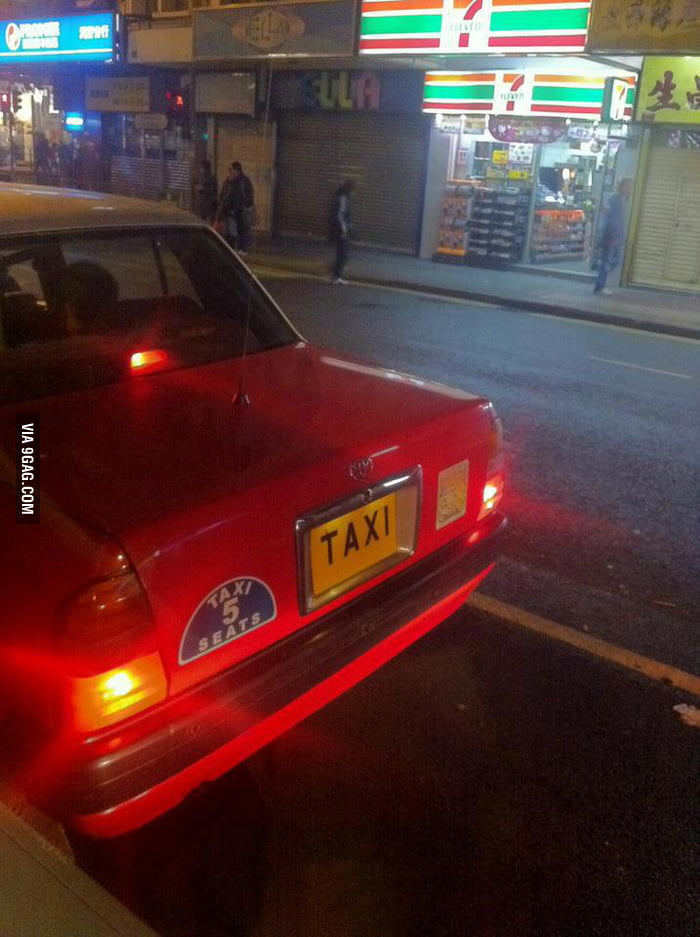 "This taxi got a license plate ""Taxi""."