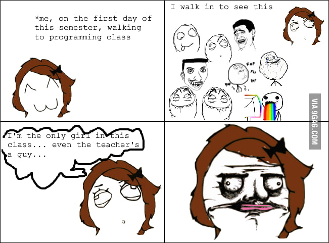 As a girl in a programming class.