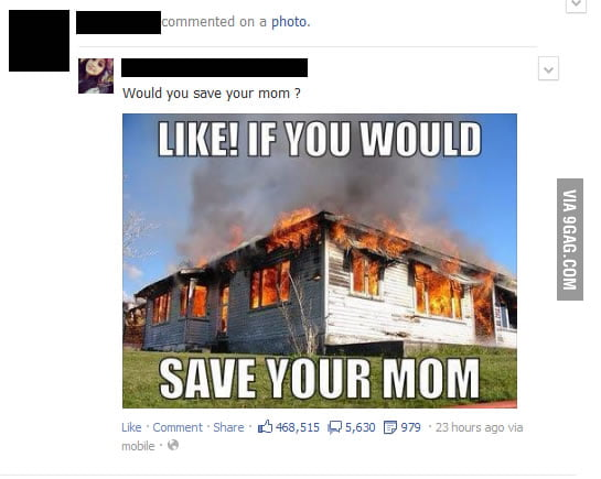 Would you save your mom? I hate posts like this.