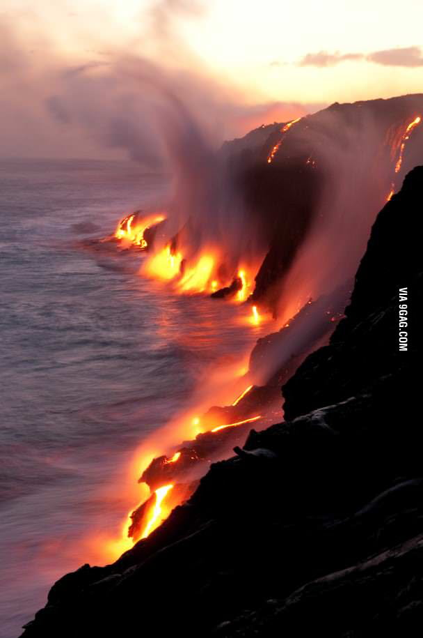 Active lava flows touching the ocean, Hawaii.