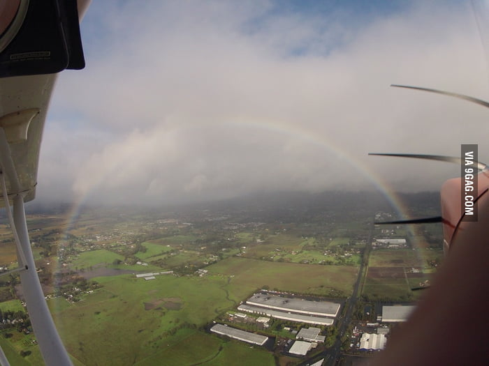 What a rainbow looks like from the sky.