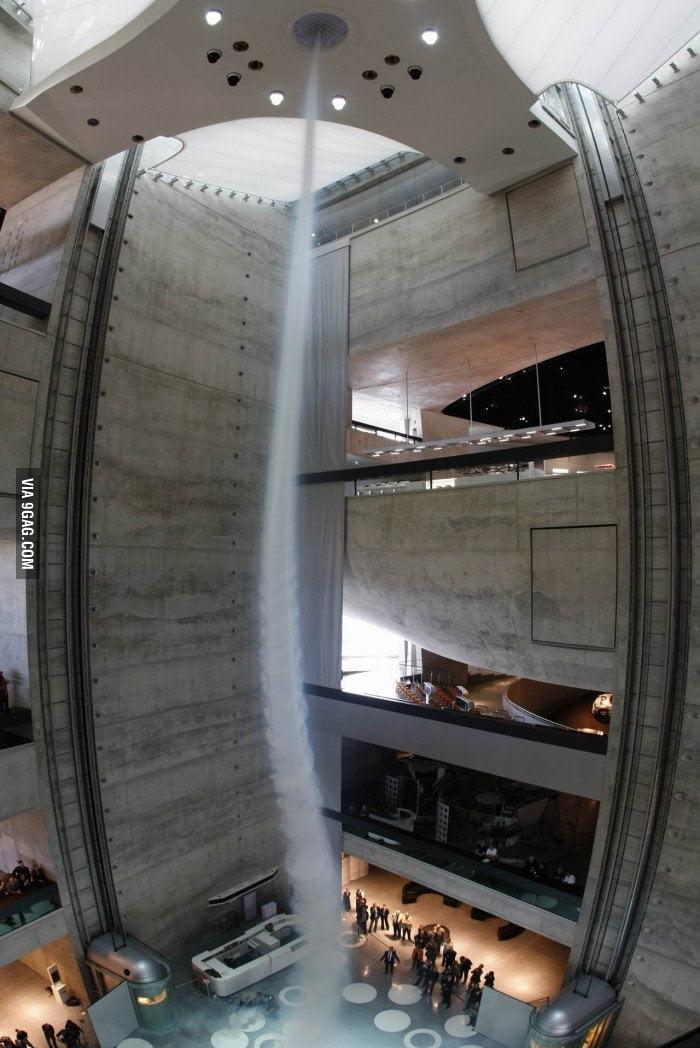 Artificial tornado at Mercedes-Benz Museum, Stuttgart, Germa