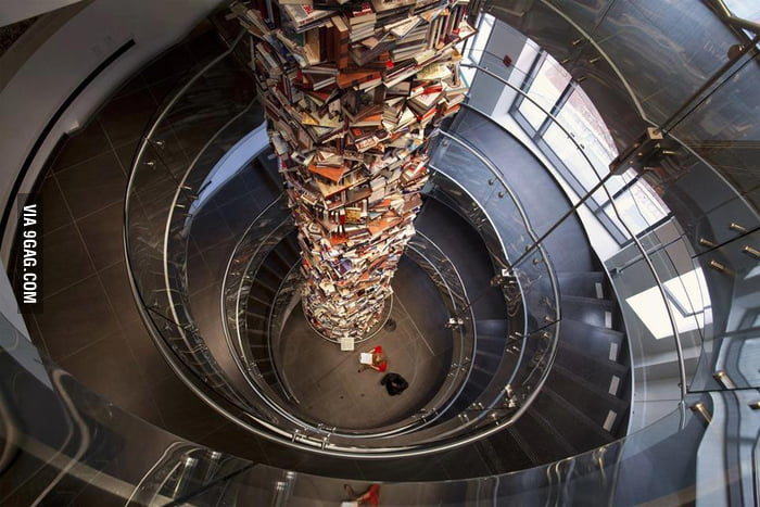 A tower made out of 15,000 books