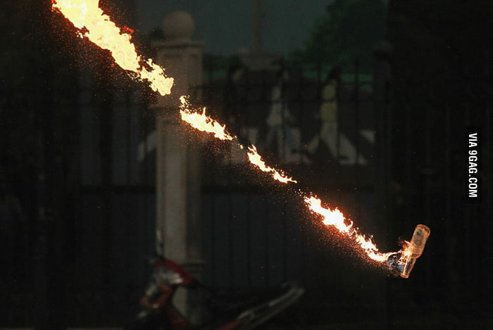 A molotov cocktail thrown by protesters in Jakarta, Indonesi