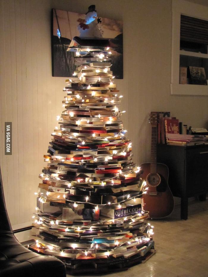 A bookworm's Christmas tree