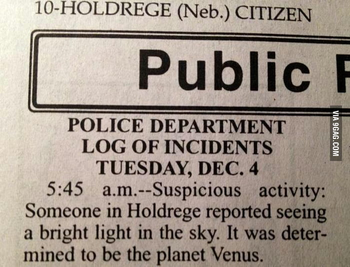 My hometown's public log of incidents never disappoints.