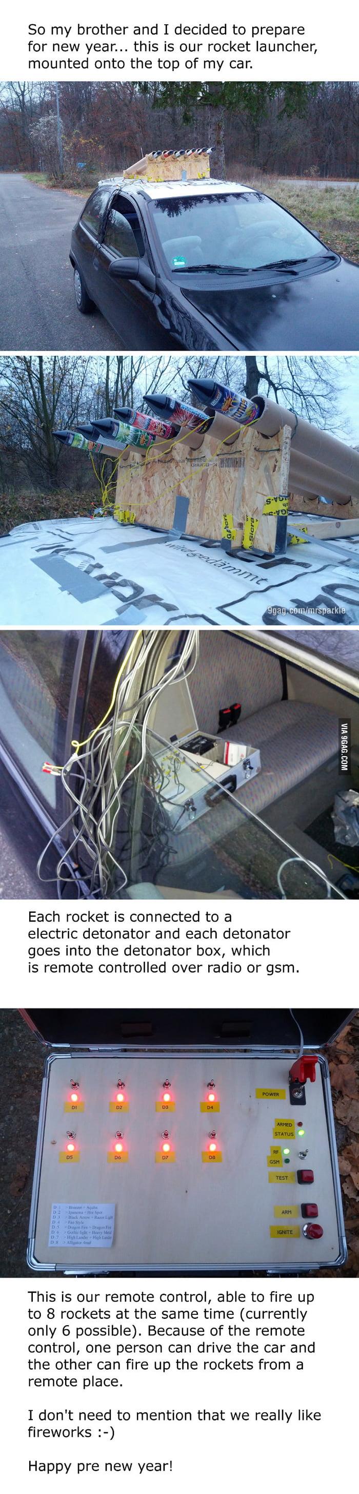 Rocket launcher on car