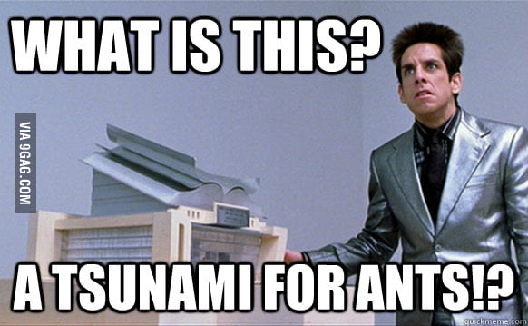 When I hear that 1 meter tall tsunami is hitting Fukushima.