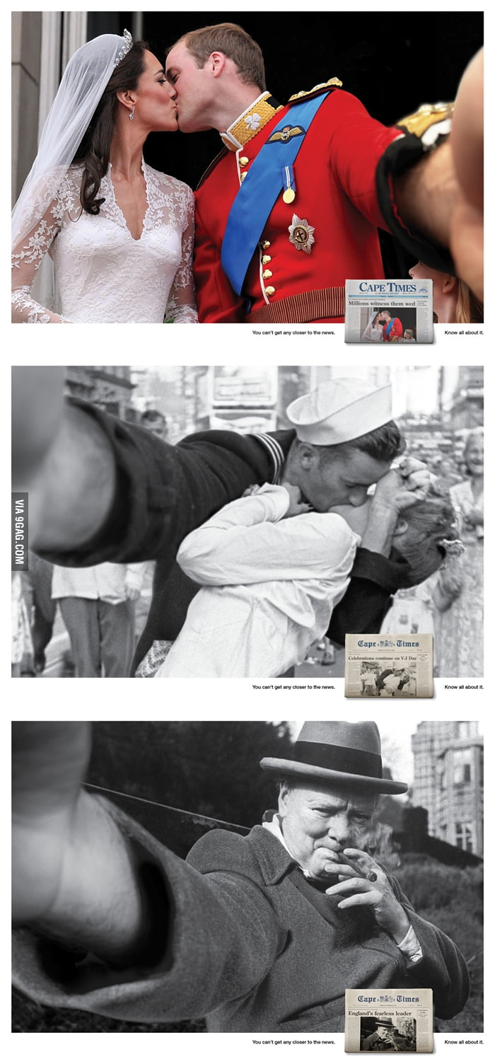 Famous photos turned into selfies.