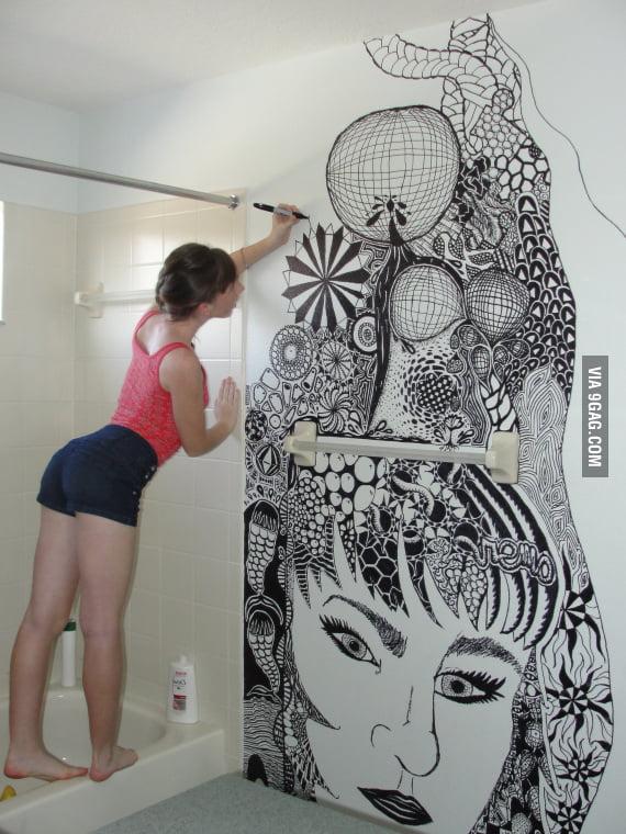 Bathroom Wall Zentangle
