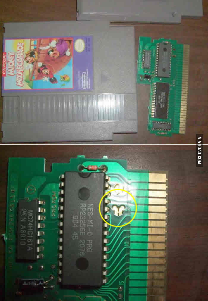 Found a hidden Mickey while cleaning an old cartridge.