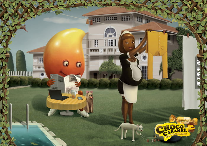 An advertisement for mango-filled chocolate.