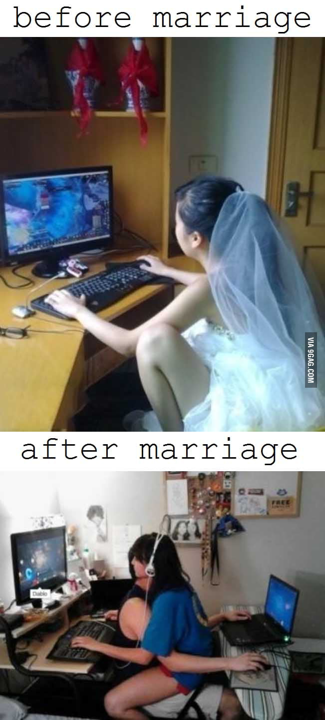 Before and after marriage.