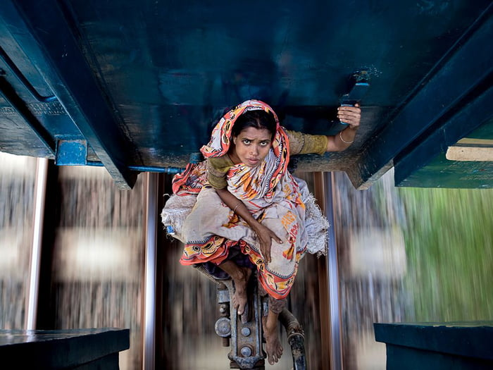 How people travel by train in Bangladesh.