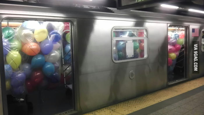 Riding the train in NYC this morning. Balloons everywhere!