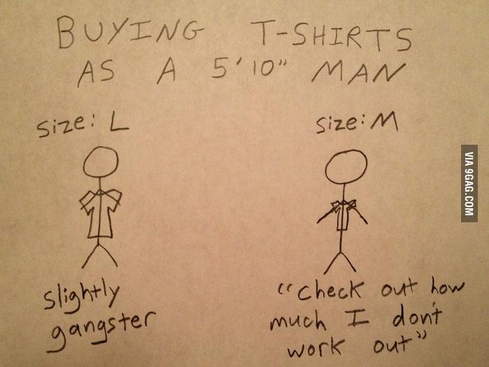 "Buying T-shirts as a 5'10"" Man"