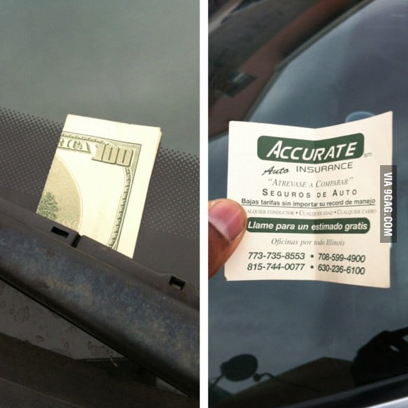 Someone left a $100 bill on your car?