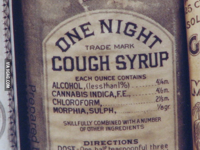 The ingredients of an old cough syrup.
