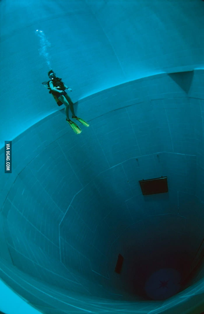 Swimming in the world's deepest swimming pool.