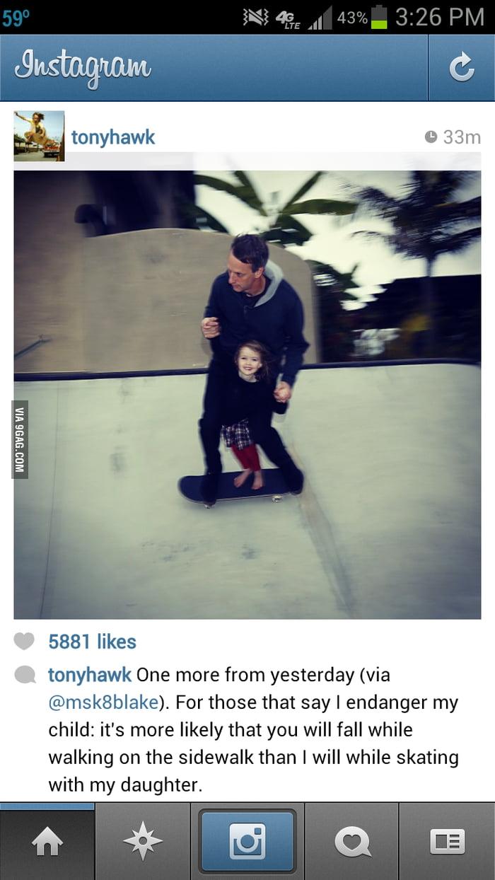 Tony Hawk and his daughter