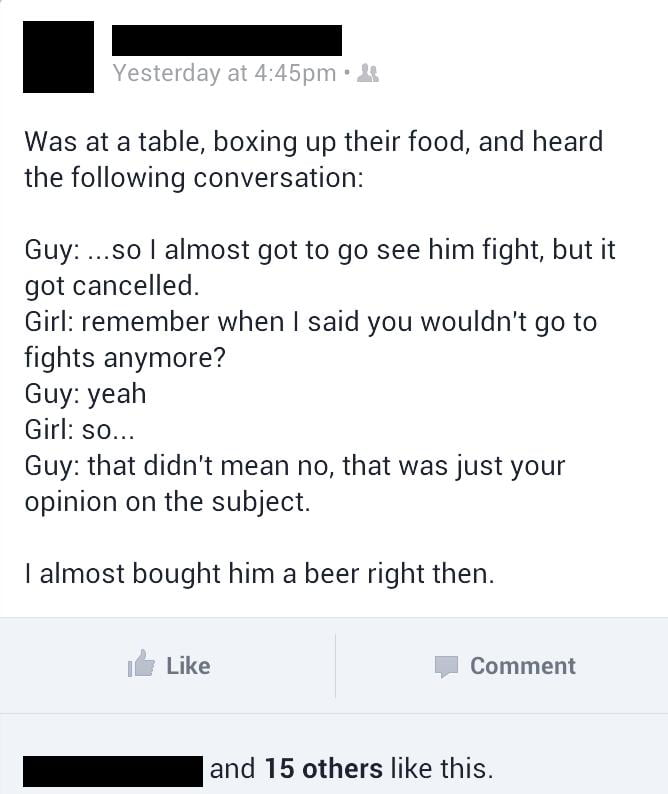 I amost bought him a beer right then.