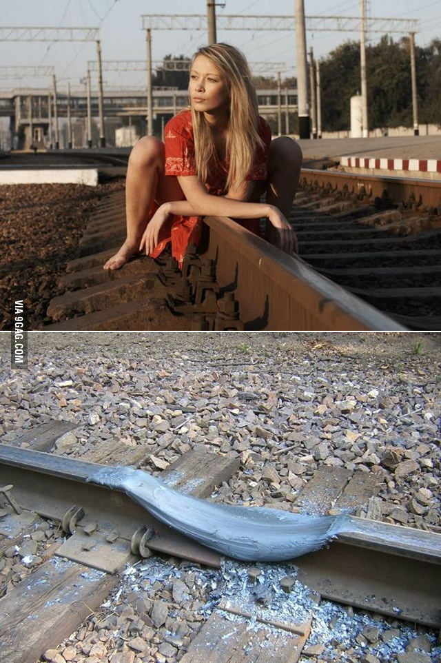 Hot girl can melt the railway track.